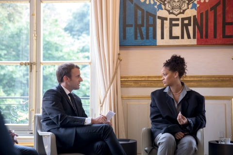 Rihanna Meets With French President Macron to Talk Education
