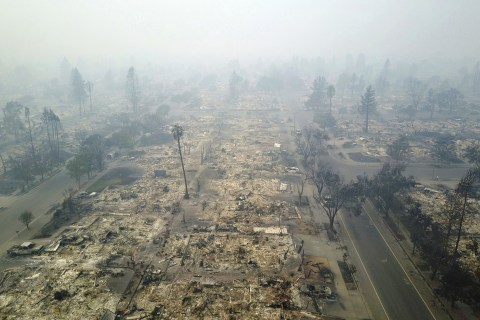From Above, California Wine Town an Ashy Wasteland