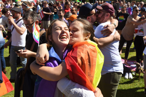 Australians celebrate majority support for same-sex marriage