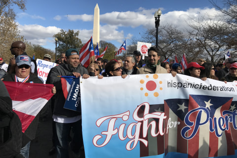 'You are not forgotten': Lin-Manuel Miranda, thousands march for Puerto Rico recovery help