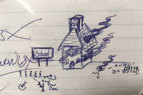 Stickman drawing of school shooting on student's homework leads to Florida man's arrest