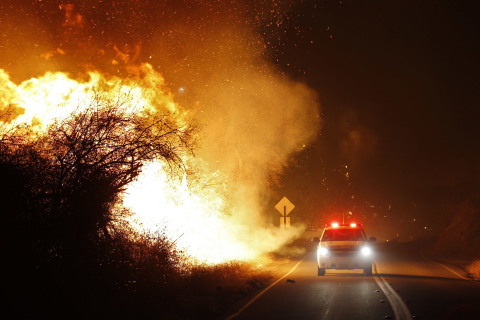 Wildfire tears through San Diego County