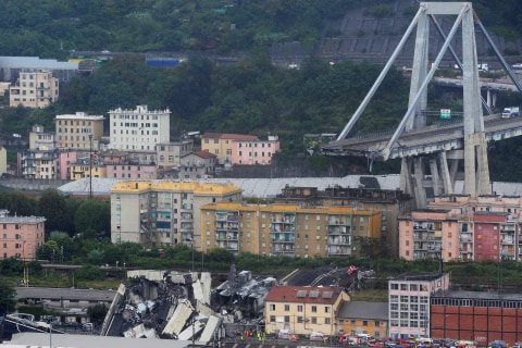Highway bridge collapses in Genoa, Italy; 23 confirmed dead