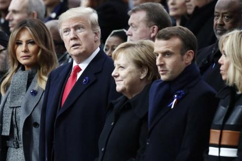 Macron warns against nationalism in apparent rebuke of Trump at WWI commemoration