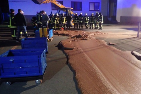 German chocolate factory spill makes for sweet street