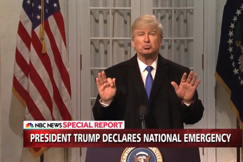 'SNL' and Alec Baldwin take on Trump's border security emergency