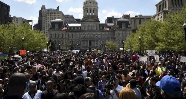 Baltimore Rallies at City Hall After Mayor Lifts Curfew