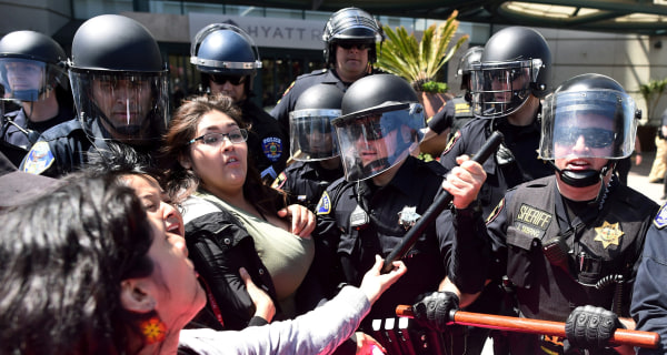 Protesters and Police Face Off Outside Trump Speech in California