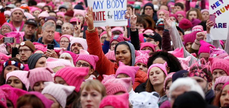Women's March Brings Flood of Pink Hats, Fiery Rhetoric to Washington