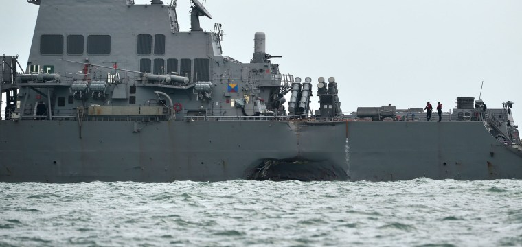 U.S. Destroyer Collides With Tanker Off Singapore; 10 Missing