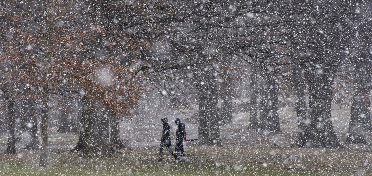 Fourth nor'easter in three weeks drowns out the arrival of spring