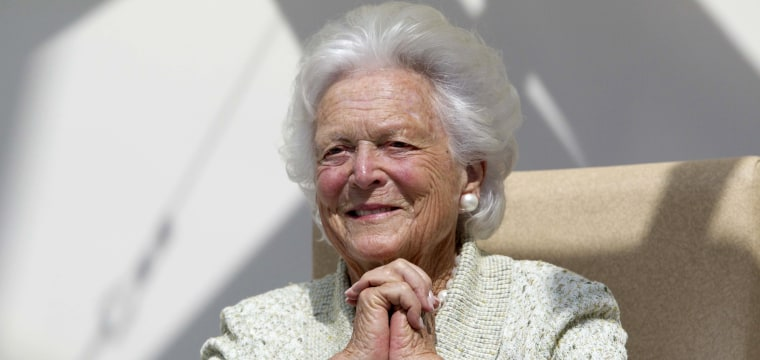 In surprise, George H.W. Bush greets Barbara's mourners