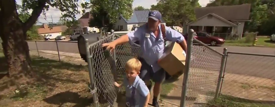 This Mailman and Little Boy's First Class Friendship Will Make You Smile