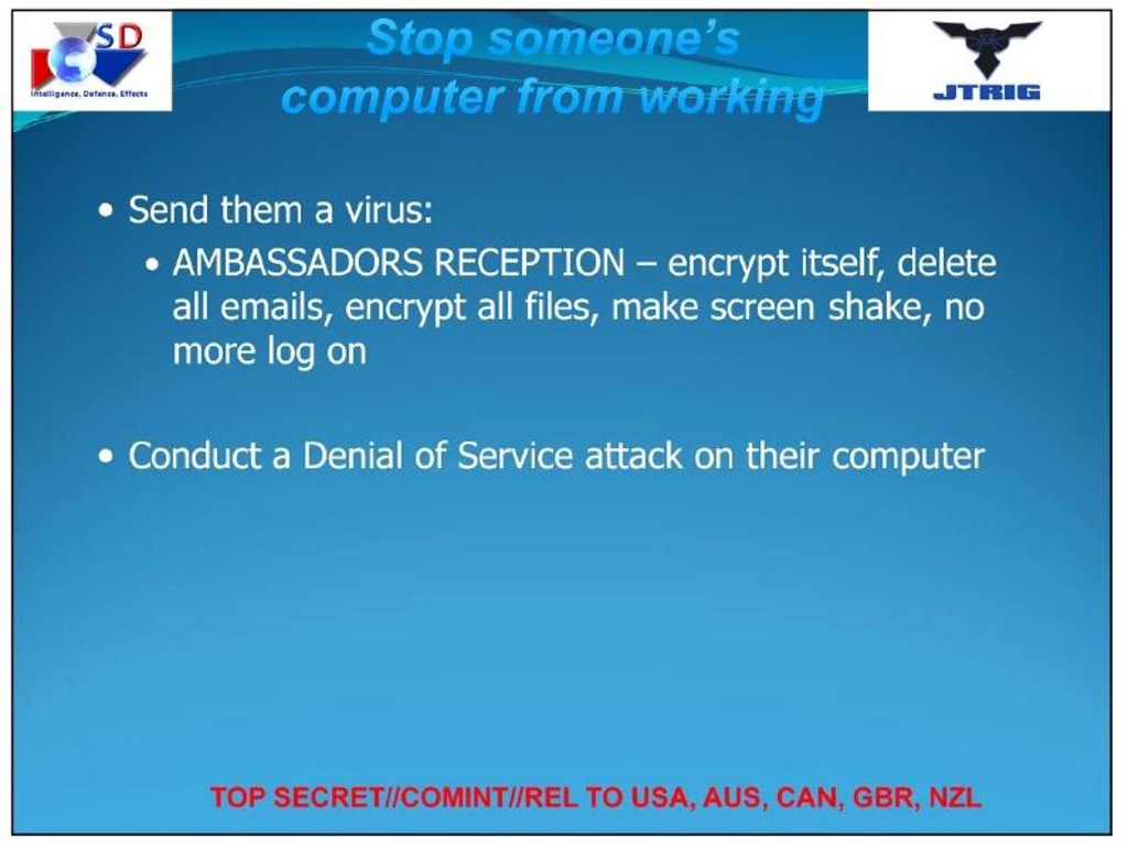 A slide from the documents taken from the NSA by Edward Snowden and obtained by NBC News.