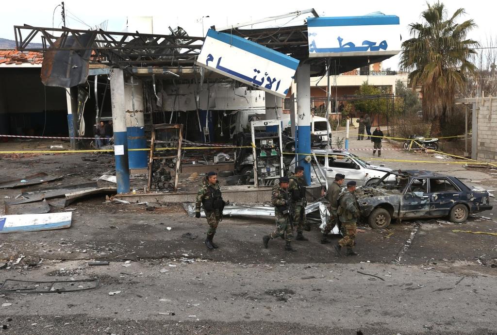 Image: Scene of car bombing in Hermel, Lebanon, on Feb. 2