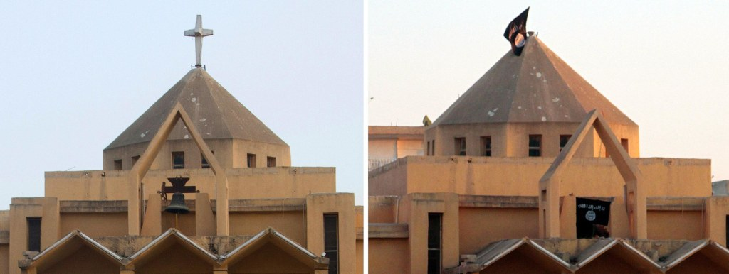 Image: A combo made up of file pictures shows the cross on top of Armenian Catholic Church of the Martyrs in the northern rebel-held Syrian city of Raqqa
