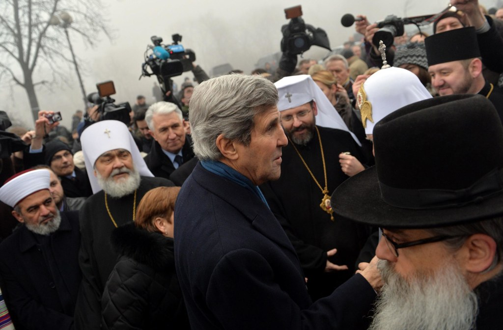 Image:  Secretary of State John Kerry speaks to religious leaders at the Shrine to the Fallen in Kiev