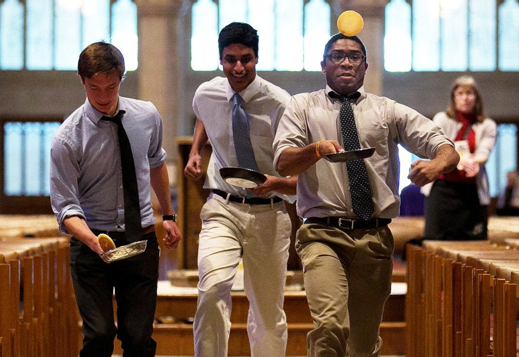 Image: The National Cathedral Holds Its Annual Mardi Gras Pancake Race