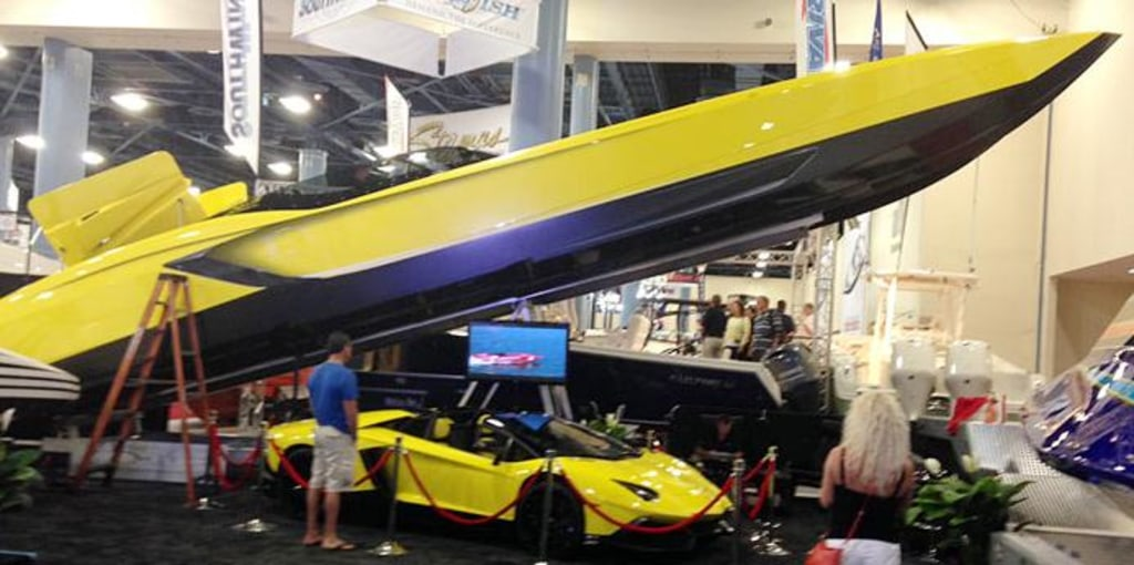 Marine Technology Displays Its Floating Aventador, And The Yellow  Lamborghini That Inspired It, At The Miami Boat Show. Marine Technology