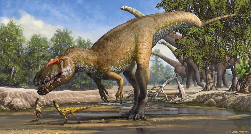 Image: An illustration of Torvosaurus gurneyi in its environment.