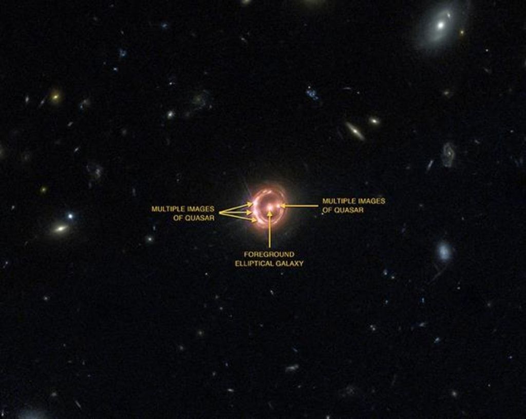A quasar located about 6 billion light years from Earth.
