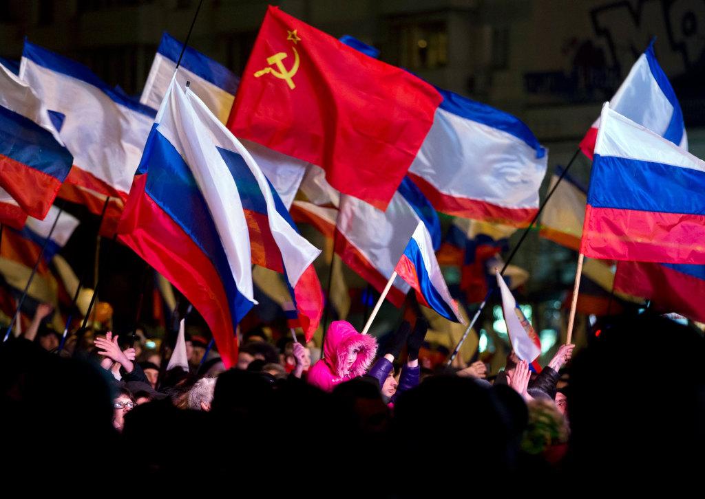 Image: Pro-Russian people celebrate in Lenin Square, in Simferopol, Ukraine
