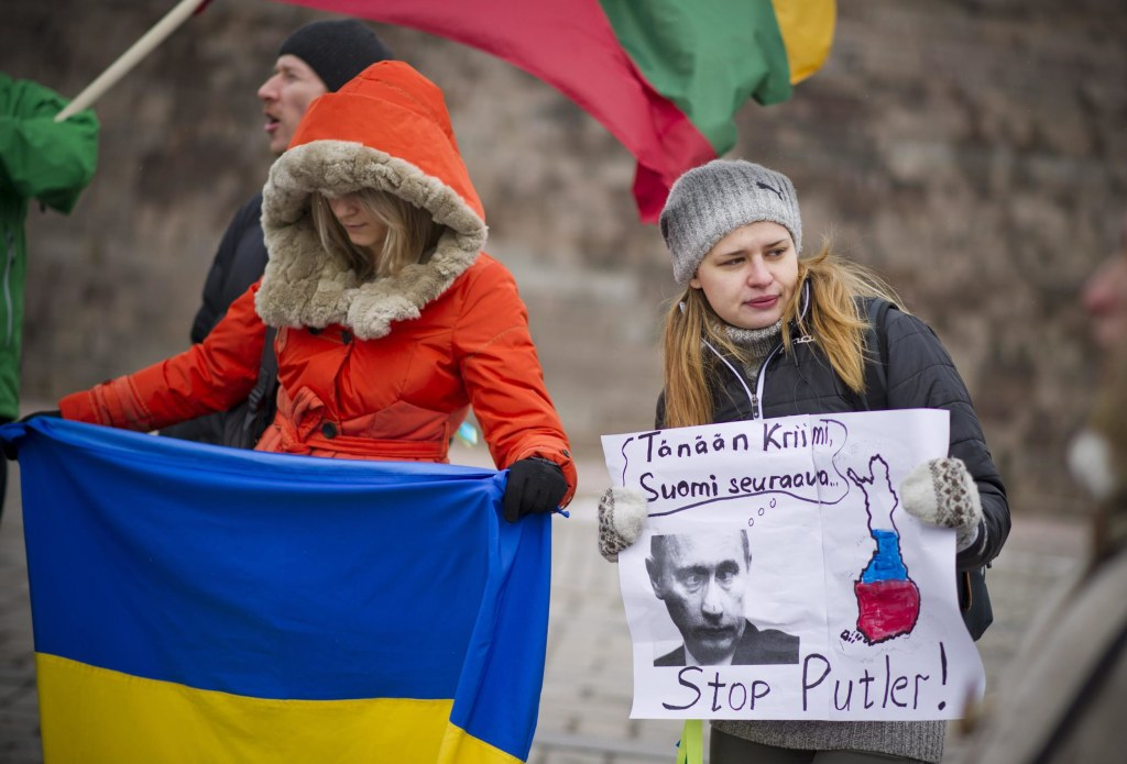 Image: Ukrainians living in Finland stage a demonstration against the Russian invasion and the Crimean referendum
