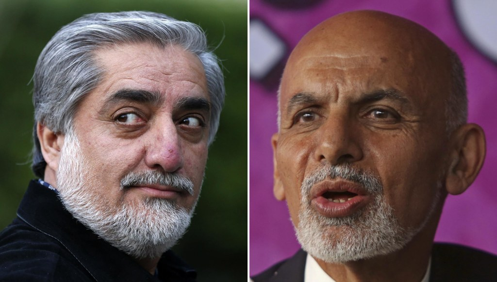 Abdullah Abdullah, left, and Ashraf Ghani are in first and second place respectively with 50% of the votes counted..