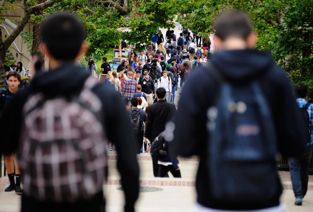 Image: Students walk across a school campus