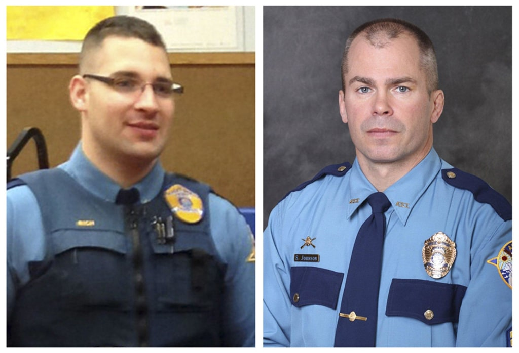 Image: Combo picture of Alaska Department of Public Safety handouts shows Alaska State Troopers Sergeant Johnson and Rich, who were killed in Tanana