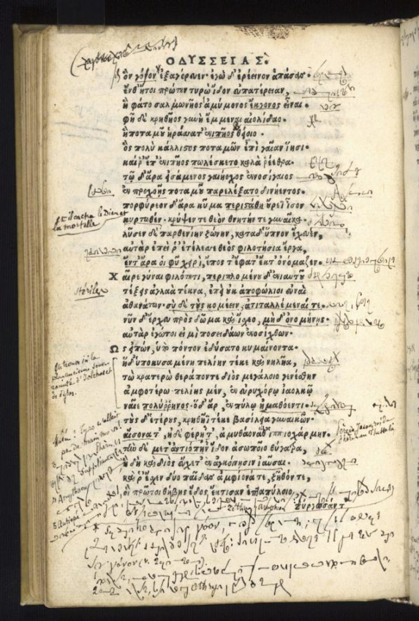 """Image: Script in 16th-century edition of Homer's """"Odyssey"""""""