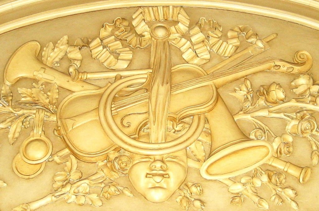Image: A detail above the music room door of Bellosguardo