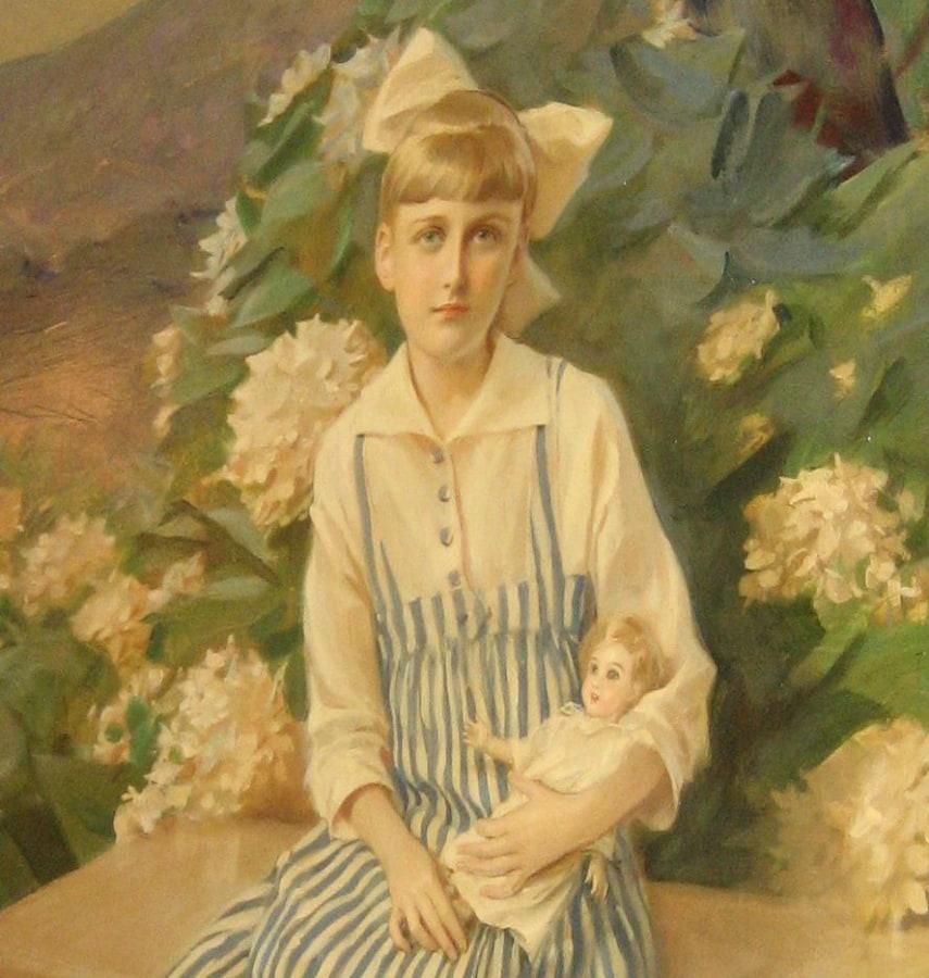 Image: A painting of Huguette Clark inside Bellosguardo, the Huguette Clark estate.