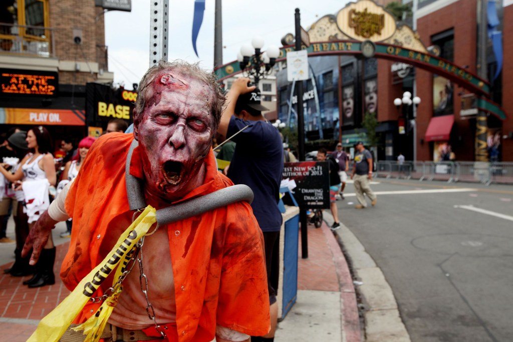 Image: A zombie character in the Gaslamp Quarter at Comic Con in San Diego, Calif.