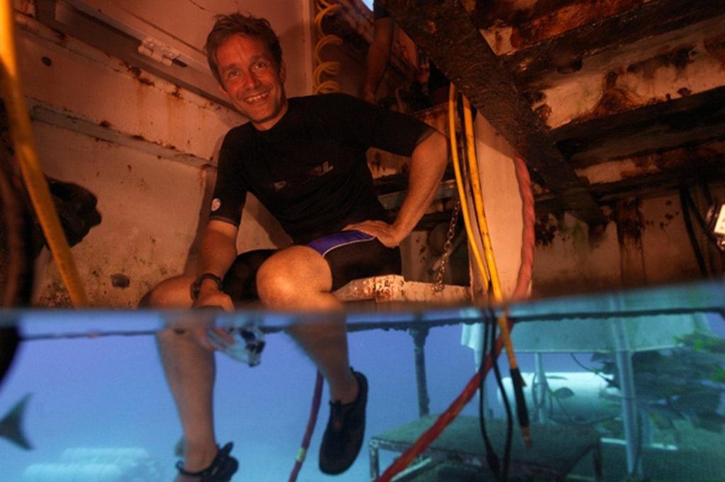 Image: Fabien Cousteau sits in the Aquarius habitat in the Florida Keys National Marine Sanctuary, Florida