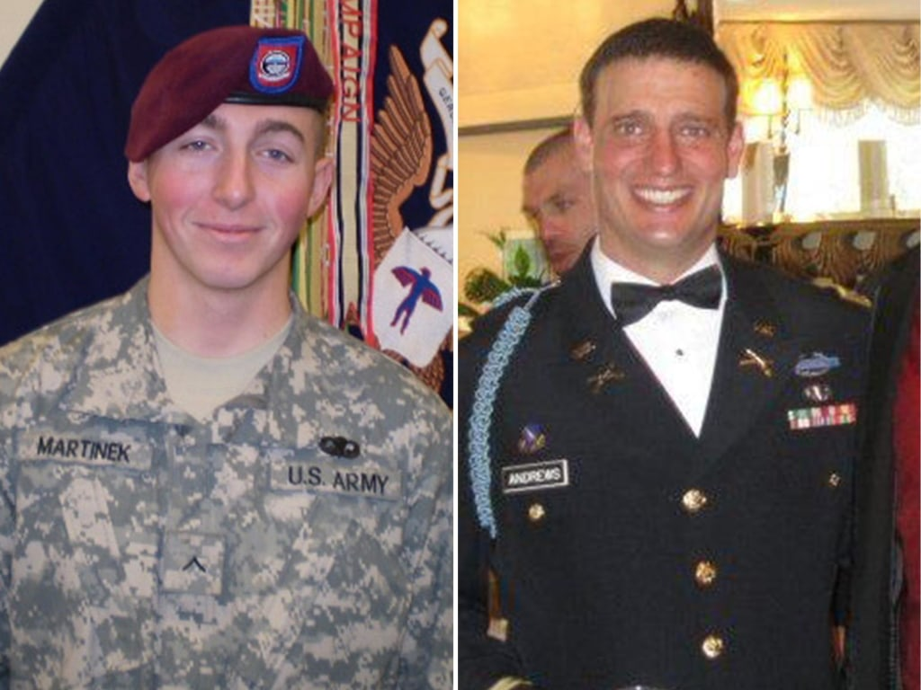 Image: A combination photo of Pfc. Matthew M. Martinek and 2nd Lt. Darryn Andrews