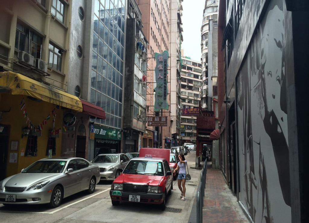 The June 4 museum is on the 5th floor of a nondescript building in Hong Kong, seen here to the right of the yellow pub.