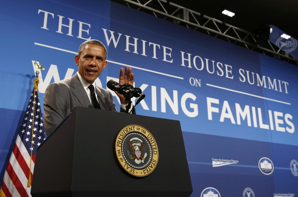 Image: U.S. President Barack Obama delivers remarks at the White House Summit on Working Families at the Omni Shoreham Hotel in Washington