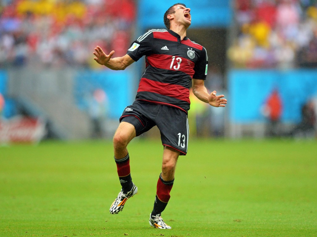 Image: Germany's Thomas Mueller reacts after scoring.