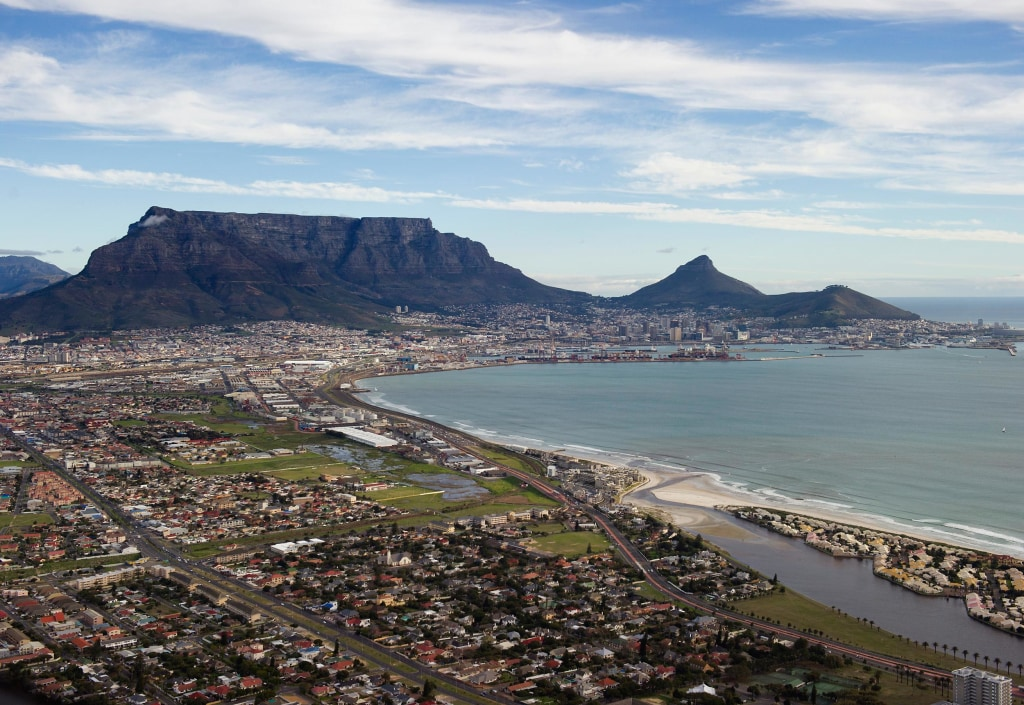 Image: Table Mountain and central Cape Town, in South Africa.
