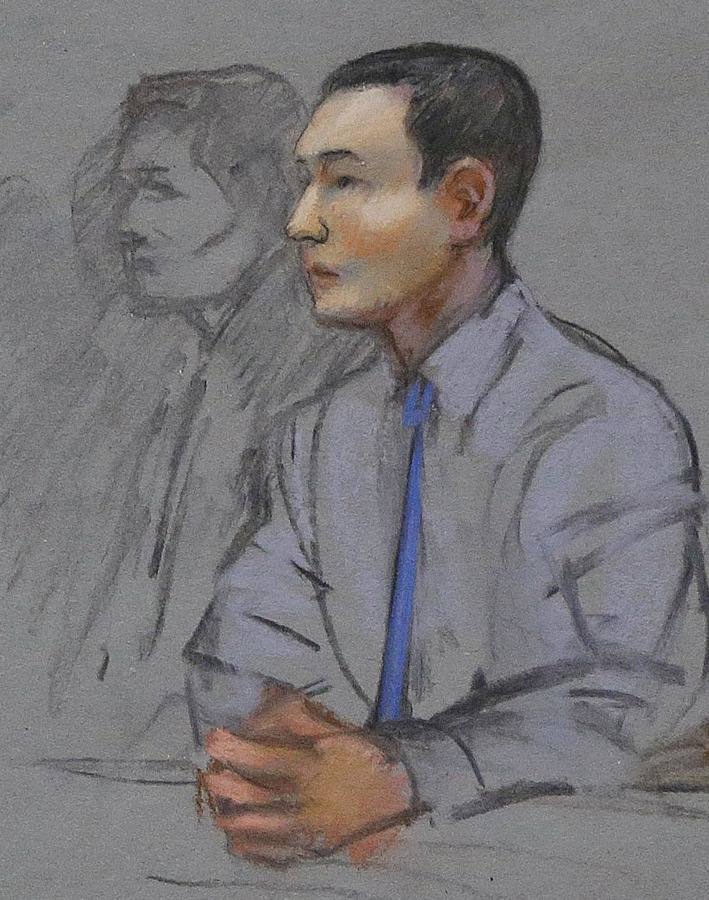 Image: This courtroom sketch shows defendant Azamat Tazhayakov