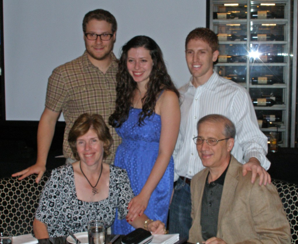 Image: : Lauren Miller with husband Seth Rogen, mother Adele, brother Danny, and father Scott.