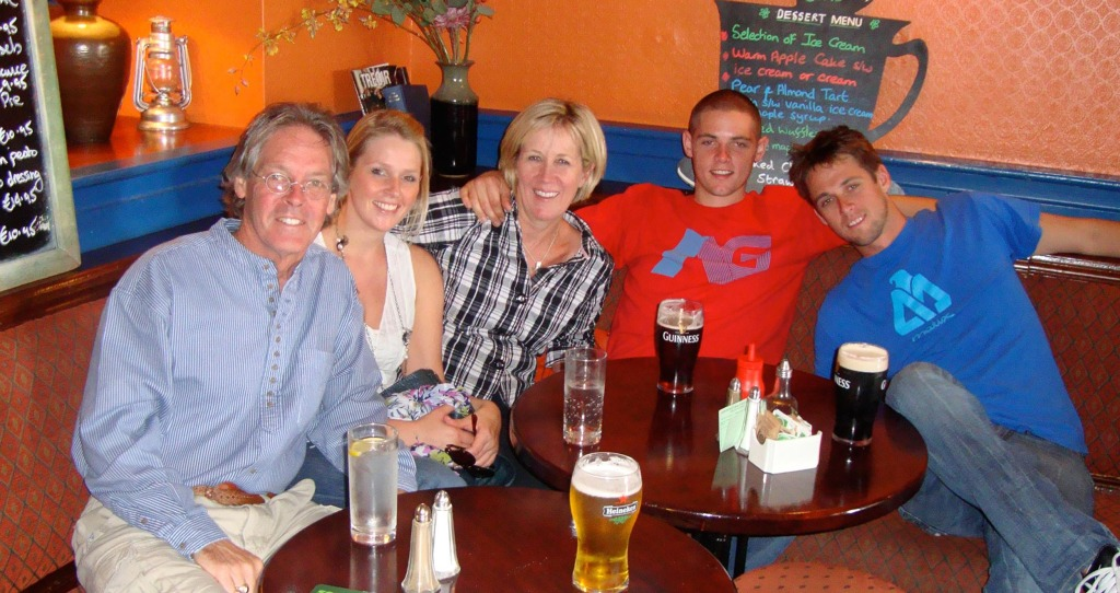 Image: O'Briens at a tavern on the Dingle Peninsula west coast of Ireland, August 2010. From left, Greg O'Brien, Colleen, Mary Catherine, Conor and Brendan.