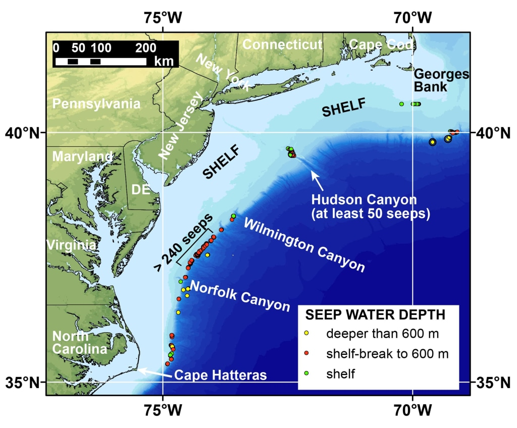 Image: Map of the northern U.S. Atlantic Coast shows locations of newly discovered methane seeps