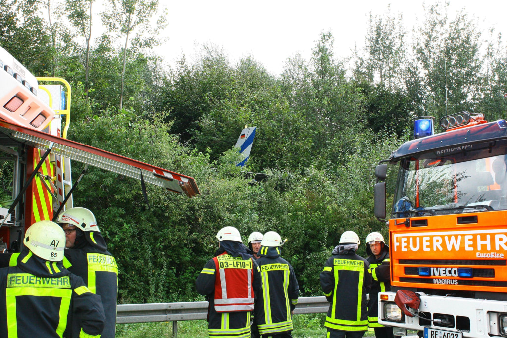 Firefighters at the crash scene on Wednesday