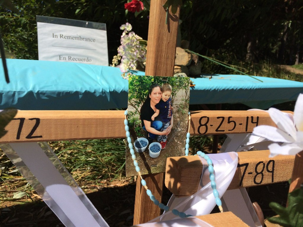 Image: A memorial for members of the Garcia-Ixtacua who died at Henry Hagg Lake, a reservoir in Gaston, Ore.