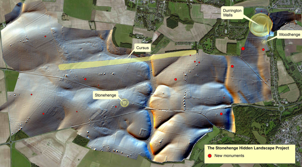 Image: Red circles mark the spots where new monuments were discovered around Stonehenge