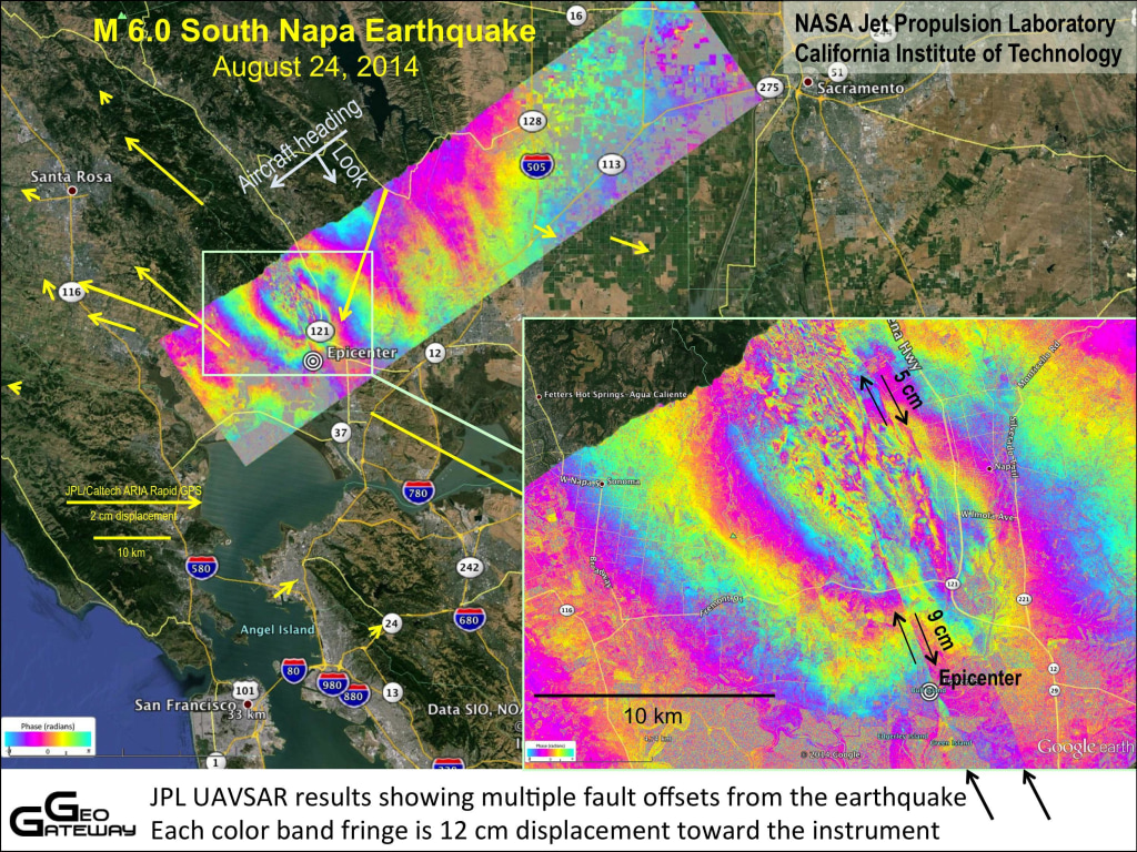 Image: Ground deformation from the Aug. 24 earthquake in Napa, California