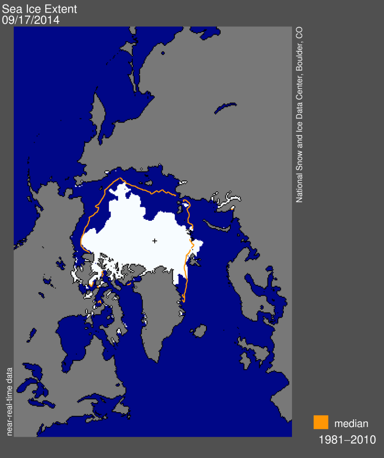 Image: Arctic sea ice extent for September 17, 2014 was 5.02 million square kilometers (1.94 million square miles)