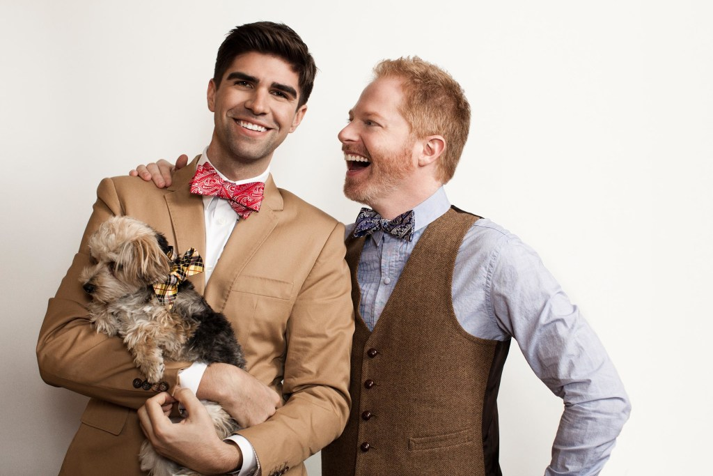 Image: Jesse Tyler Ferguson and  husband Justin Mikita, and their Morkie Leaf